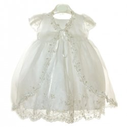 Baby Girls White Christening Dress beads and sequins