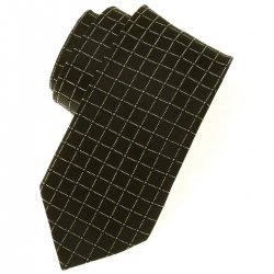 Boys fashion tie in black with pale yellow square and blue dots