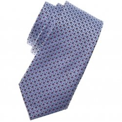 Boys Fashion Tie Blue With Burgundy And Navy Dots