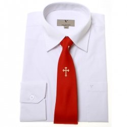 Boys communion shirt or confirmation shirt with a gold cross red tie