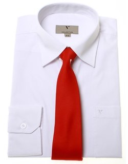 Boys communion shirt or confirmation shirt with a red tie