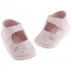 Baby girls soft pink shoes with side flowers by Cuquito shoes