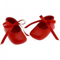 Baby girls red shoes in leather with ballerina ribbons