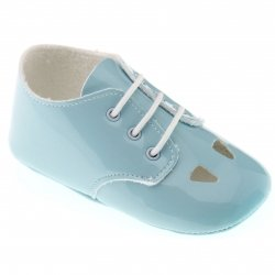 Cuquito baby girls or boys summer blue shoes in patent