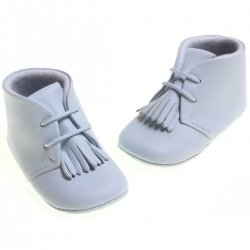 Cuquito Baby boys blue leather booties