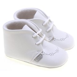 Baby Boys White Shoes In Soft Leather With Lace Up