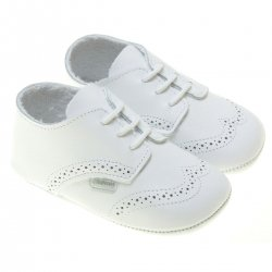Lace Up Baby Boys White Leather Shoes