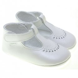 Baby White T Bar Shoes Raindrops Pattern