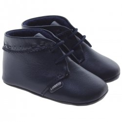 Baby Boys Navy Blue Shoes In Soft Leather By Cuquito Shoes