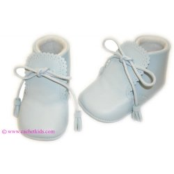 Lovely baby boys blue leather Cuquito booties with tassels