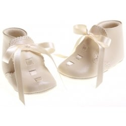 Baby girls And boys ivory leather Cuquito ribbon lace shoes