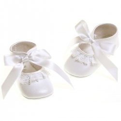 Baby girls lace frills white leather christening shoes