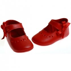 Baby girls red leather Cuquito booties with ribbons bows