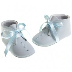 Baby boys blue leather Cuquito ribbon lace shoes