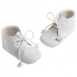 Baby boys white leather Cuquito booties with tassels