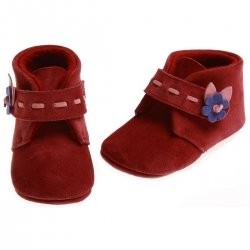 SALE Cuquito Baby girls plum red leather booties with leather flowers