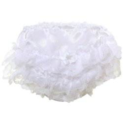 Baby Girls White Satin White Lace Frilly Panties