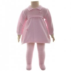 SALE PEX 100% Cotton Baby Knitted Pink Dress And Tights Set