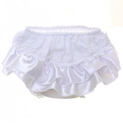 Daisy Flowers Satin Trim Baby Girls White Frilly Knickers
