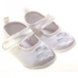 Front embroidered My Special Day baby white christening shoes
