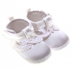 Flower and frills baby girls white satin christening shoes