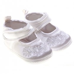 Daisy flowers baby girls white christening shoes