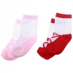 PEX 2 Pairs Ballet Shoes Socks In Red And Pink