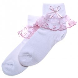 Belle Lace Frilly Socks In White With Pink Lace Trim