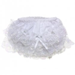 PEXs Iridescent White Lace Baby Girls Frilly Knickers