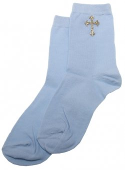 Boy Communion Socks With A Cross Blue Colour