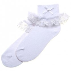 Butterfly Lace Girls Frilly Socks In White