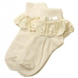 Baby girls frilly ivory socks with flower petals