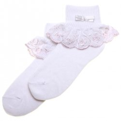 Baby And Toddler Girls Frilly white Socks Flower Petals Pink Trims