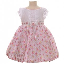 SALE Baby Girls Pretty Pink Rose White Dress