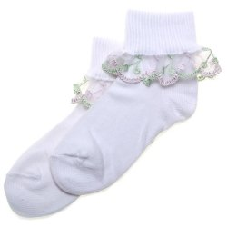 Cherry Lace Green And Pink Frilly Socks