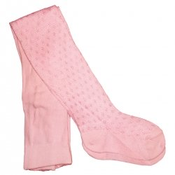 Baby girl pink tights in cherubs pattern