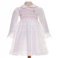 Connie White Smocked Dress With Pink Daisies