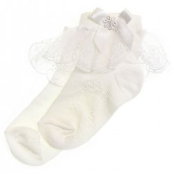 Girls lacy socks with duck patterns white