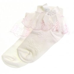 Girls cotton lacy socks with duck patterns white pink