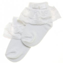 Girl frilly socks with floral lace and bow