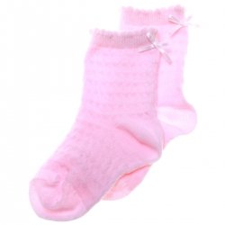 PEX Scallop Edge Pink Dress Socks With A Little Bow