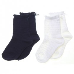 Two Pairs White Navy Dress Socks Bow Decoration