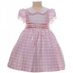 SALE Baby Girls Lovely Pink Gingham Pattern Dress