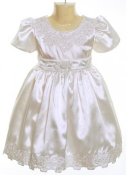 Christening white satin dress style Gina