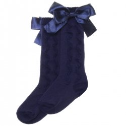 Girls Knee High Ruffle Pattern Navy Bow Socks From PEX