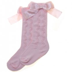 Girls Knee High Ruffle Pattern Pink Bow Socks From PEX