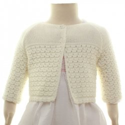 Baby Girls Ivory Bolero With Honeycomb Knitted Pattern