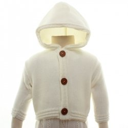 Made in UK Hooded Baby Boys Ivory Cardigan