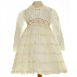 SALE Kelley Ivory Smocked Dress With Pink Embroideries