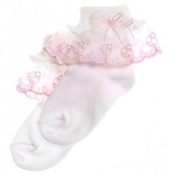 Girls socks in white with pink frills and ladybird pattern